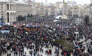 An aerial view shows the Maidan Nezalezhnosti or Independence Square crowded by supporters of EU integration during a rally in Kiev