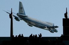 Air Force One flies low near Lincoln Financial field before the Army Navy game in Philadelphia