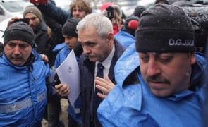 Liviu Dragnea la ÎCCJ - protest - jandarmi