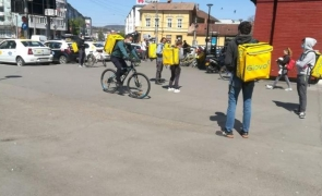 Protest curier glovo